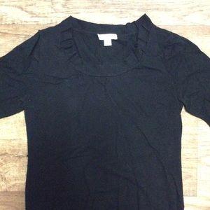 Black short sleeve sweater top pleated neckline